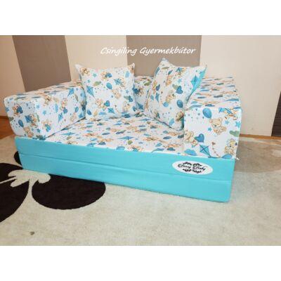 Berry Baby SUNSHINE szivacs kanapéágy, gyerek méretben: Türkizkék - kék macis