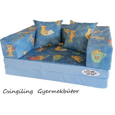 Berry Baby SUNSHINE szivacs kanapéágy, gyerek méretben: Világoskék - kék macis mikroplüss