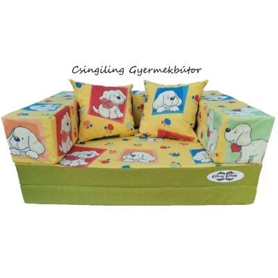 Berry Baby SUNSHINE szivacs kanapéágy, felnőtt méretben:  Pisztácia - Sárga kutyás