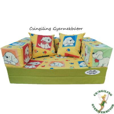 Berry Baby SUNSHINE szivacs kanapéágy, gyerek méretben: Pisztácia - Sárga kutyás