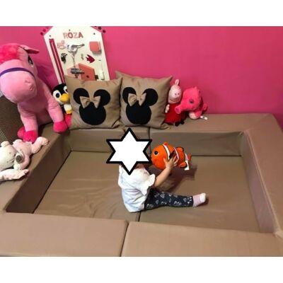 Berry Baby WEXTRA szivacs kanapéágy felnőtt méretben: kávé Mickey Minnie