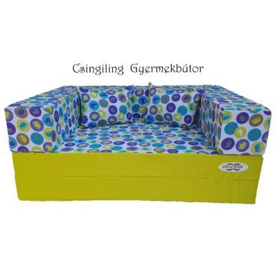 Berry Baby WEXTRA szivacs kanapéágy, felnőtt méretben: Kiwi - kék elefántos