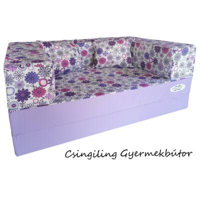 Berry Baby WEXTRA szivacs kanapéágy, felnőtt méretben: Lila - lila virágos ülőlap és karfa