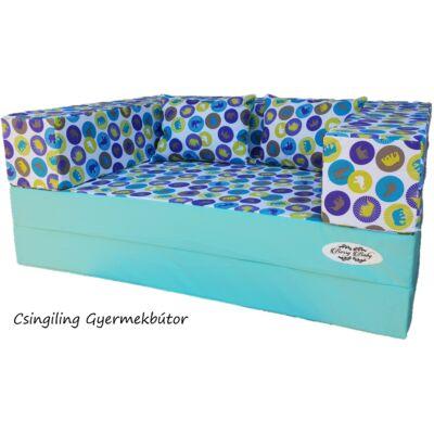 Berry Baby WEXTRA szivacs kanapéágy, felnőtt méretben: Menta - kék elefántos