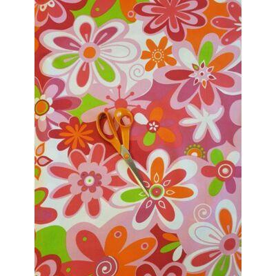 Berry Baby WEXTRA szivacs kanapéágy, felnőtt méretben: Puncs - rózsaszín nagy virágos ülőlap és karfa