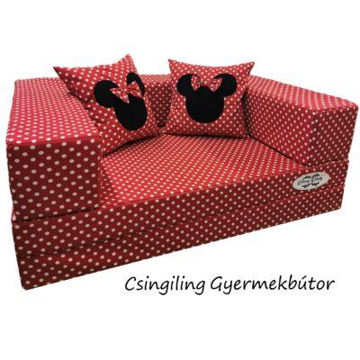 Berry Baby WEXTRA szivacs kanapéágy, felnőtt méretben: Piros alapon fehér pöttyös (Minnie fantázia díszpárnákkal is kérhető)