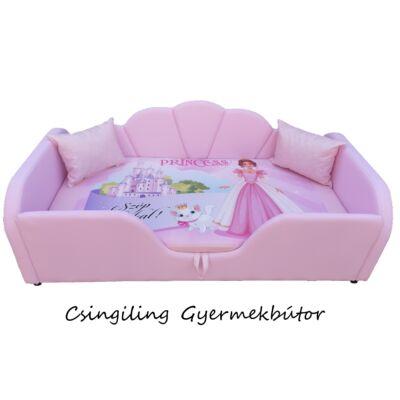 Celebrity prémium eco bőr keretes ágyneműtartós gyerekágy: rózsaszín eco bőr diamond princess hercegnős