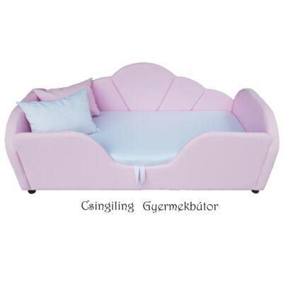 Celebrity prémium gyerekágy 83x165 cm-es fekvőfelülettel: Rózsaszín eco bőr- fehér wextra fekvőfelület