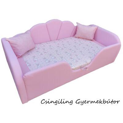Celebrity prémium gyerekágy 83x165 cm-es fekvőfelülettel: Rózsaszín eco bőr- diamond Sweet Bunny fekvőfelület