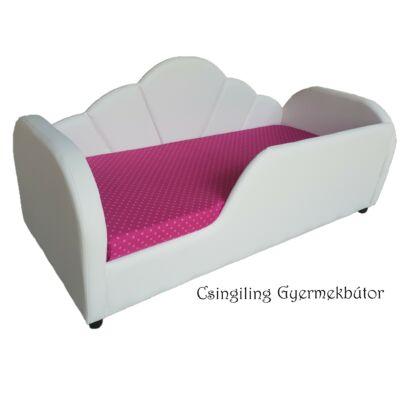 Celebrity prémium gyerekágy 83x165 cm-es fekvőfelülettel: Fehér eco bőr- pink pöttyös wextra fekvőfelület