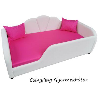 Celebrity prémium gyerekágy 63x150 cm-es fekvőfelülettel: FEHÉR eco bőr keret - pink fekvőfelület