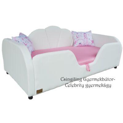Celebrity prémium eco bőr keretes ágyneműtartós gyerekágy: fehér eco bőr puncs rózsaszín wextra