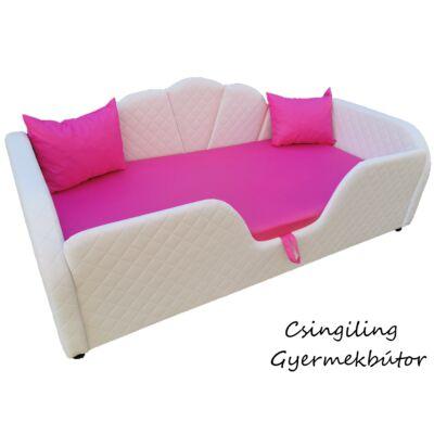 Celebrity prémium eco bőr keretes ágyneműtartós gyerekágy: hófehér steppelt eco bőr, pink