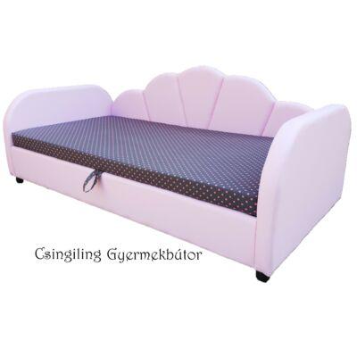Celebrity prémium gyerekágy 63x150 cm-es fekvőfelülettel: Rózsaszín eco bőr- szürke pöttyös wextra fekvőfelület