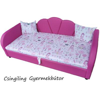 Celebrity prémium eco bőr keretes ágyneműtartós gyerekágy: pink eco bőr Little Princess hercegnős