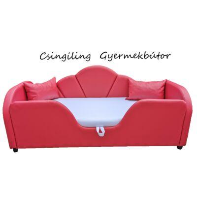Celebrity prémium eco bőr keretes ágyneműtartós gyerekágy: piros eco bőr fehér 10
