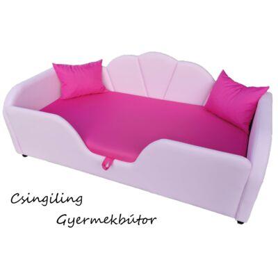 Celebrity prémium gyerekágy 63x150 cm-es fekvőfelülettel: Puncs eco bőr- pink wextra fekvőfelület