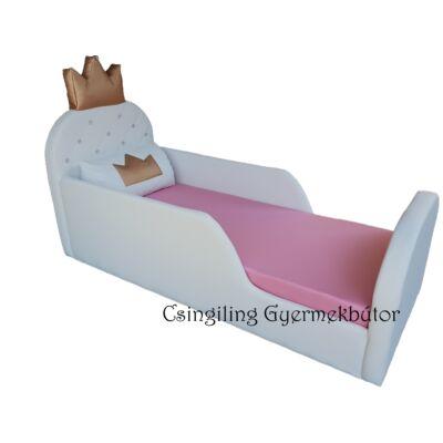 Crown prémium gyerekágy 63x150 cm-es fekvőfelülettel: HÓFEHÉR eco bőr keret- puncs wextra fekvőfelület
