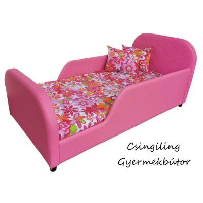 Crown prémium gyerekágy 63x150 cm-es fekvőfelülettel: Pink eco bőr keret- nagy virágos wextra fekvőfelület