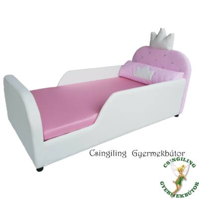 Crown prémium eco bőr keretes ágyneműtartós gyerekágy: hófehér eco bőr keret, rózsaszín puncs fekvőfelület 3
