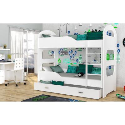 Dominik emeletes gyerekágy ágyneműtartóval - Fehér