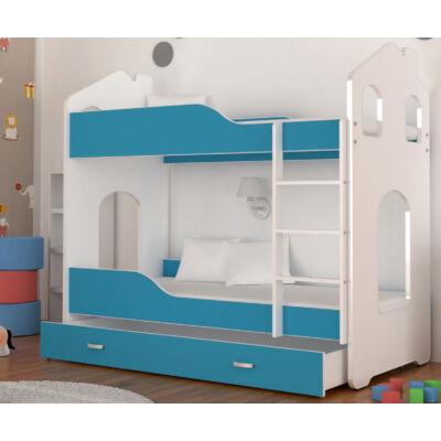 Dominik Domek HÁZIKÓ FORMÁJÚ emeletes ágy ágyneműtartóval - Kék KÉSZLETRŐL
