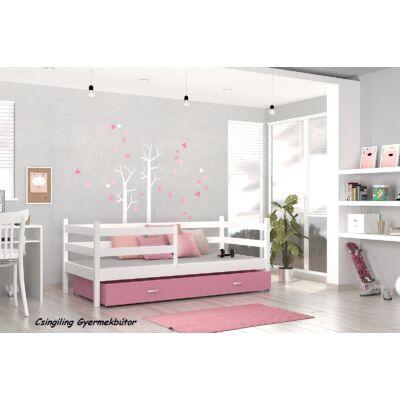 """""""BASIC"""" ágyneműtartós gyerekágyak: Fehér - rózsaszín"""