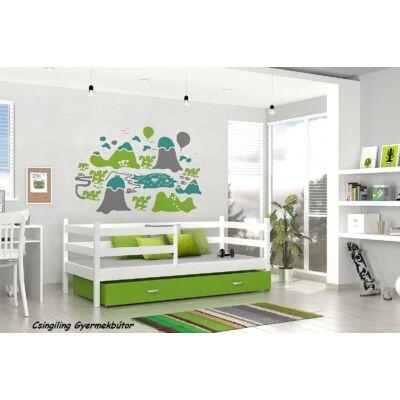 """BASIC"" ágyneműtartós gyerekágyak: Fehér - zöld"