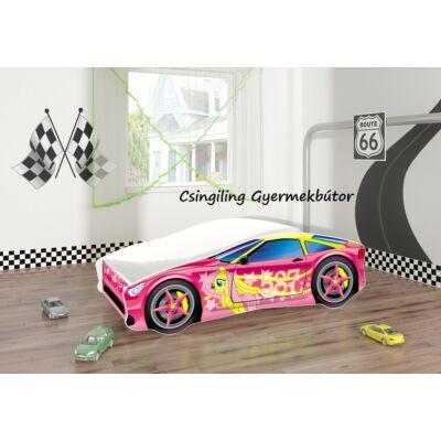 """""""CARS"""" II.  gyerekágy 70x140 cm-es: 8-as Rózsaszín-Ponys KÉSZLETRŐL"""