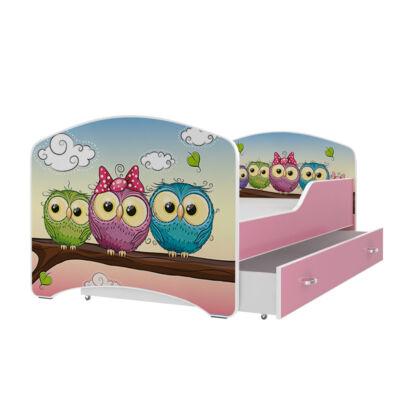 """""""IGOR"""" leesésgátlós gyerekágy ágyneműtartóval rózsaszín kerettel 80x160 cm méretben: 59-es KÉSZLETRŐL"""