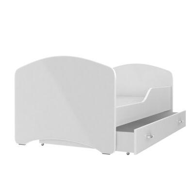 IGOR leesésgátlós gyerekágy ágyneműtartóval, 80x160 cm, fehér támlával KÉSZLETRŐL