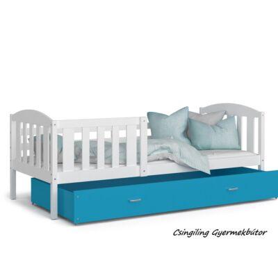 """""""KUBUS"""" ágyneműtartós gyerekágy - 3 méretben: Fehér-Kék"""