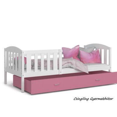 KUBUS ágyneműtartós gyerekágy - 3 méretben: Fehér-Rózsaszín