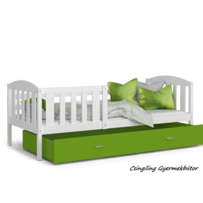 """""""KUBUS"""" ágyneműtartós gyerekágy - 2 méretben: Fehér-Zöld"""