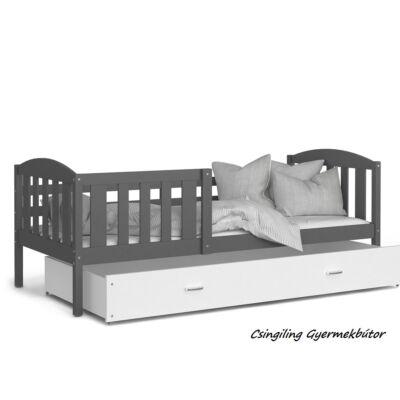 KUBUS leesésgátlós ágyneműtartós gyerekágy, 80x190 cm: Szürke-Fehér KÉSZLETRŐL