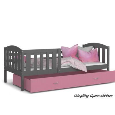 """""""KUBUS"""" ágyneműtartós gyerekágy - 3 méretben: Szürke-Rózsaszín"""