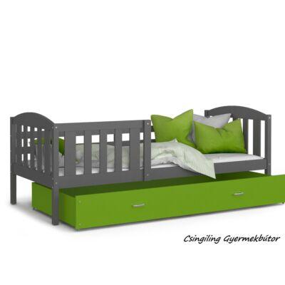 """""""KUBUS"""" ágyneműtartós gyerekágy - 3 méretben: Szürke-Zöld"""
