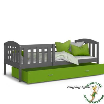 KUBUS ágyneműtartós gyerekágy - 3 méretben: Szürke-Zöld