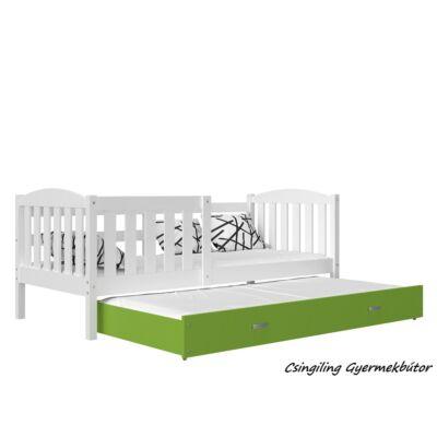 KUBUS pótágyas gyerekágy 80x190 cm-es méretben: Fehér-Zöld