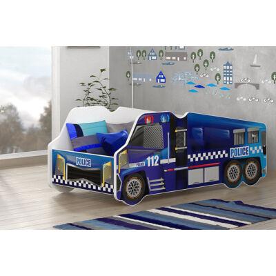 Munkagép alakú gyerekágy 70x140 cm-es méretben: Rendőr autó