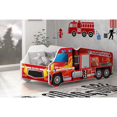 Munkagép alakú gyerekágy 70x140 cm-es méretben: Tűzoltó autó