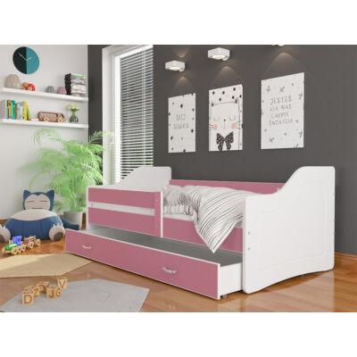 """""""SWEETY"""" leesésgátlós gyerekágy ágyneműtartóval - 80x180-as méretben: Fehér-rózsaszín KÉSZLETRŐL"""