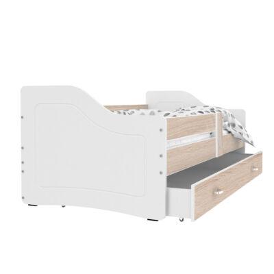 """""""SWEETY"""" leesésgátlós gyerekágy ágyneműtartóval - 3 méretben: Fehér-sonoma"""