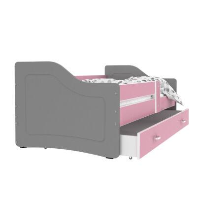 SWEETY leesésgátlós gyerekágy ágyneműtartóval - 3 méretben: Szürke-rózsaszín