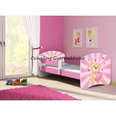 """""""SWEET DREAM"""" leesésgátlós gyerekágy 70x140cm: pink kerettel, ÁGYNEMŰTARTÓVAL, 10 Pink teddy bear KÉSZLETRŐL"""