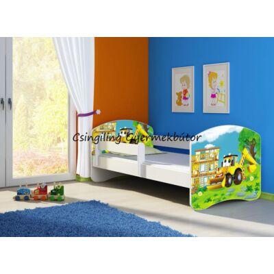 """""""SWEET DREAM"""" leesésgátlós gyerekágy 80x180 cm: Fehér kerettel, ÁGYNEMŰTARTÓVAL, 20 Digger, KÉSZLETRŐL"""