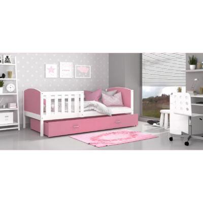 """""""TAMI"""" leesésgátlós ágyneműtartós gyerekágy - 3 méretben: Fehér keret - rózsaszín támlákkal"""
