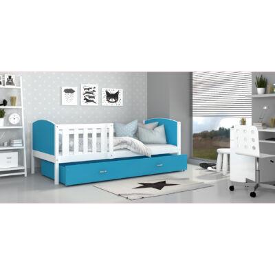 TAMI leesésgátlós ágyneműtartós gyerekágy - 3 méretben: Fehér keret - kék támlákkal