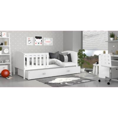 """""""TAMI"""" leesésgátlós ágyneműtartós gyerekágy - 3 méretben: Fehér keret - fehér támlákkal"""