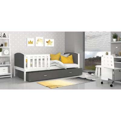 """""""TAMI"""" leesésgátlós ágyneműtartós gyerekágy - 3 méretben: Fehér keret - szürke támlákkal"""
